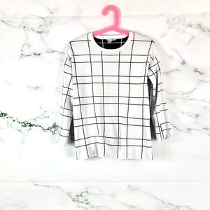 HALOGEN Windowpane Black White Sweater